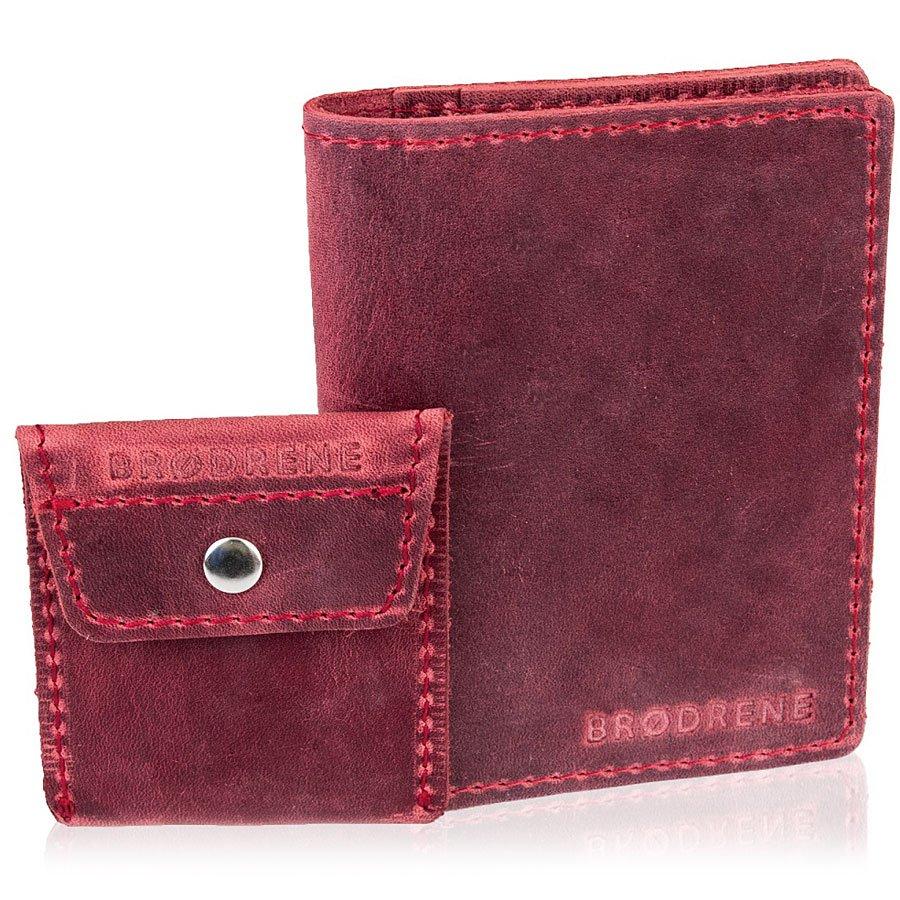 386331e67ac44 Skórzany zestaw portfel i bilonówka BRODRENE SW05 + CW02 czerwony ...
