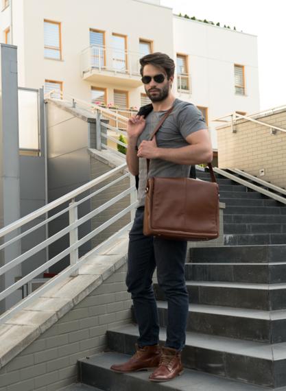 "Męska torba skórzana na laptopa 15.6"" Mcklein San Francesco 45354 brązowa"