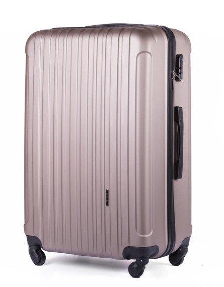 Duża walizka podróżna na kółkach SOLIER STL2011 L ABS szampańska