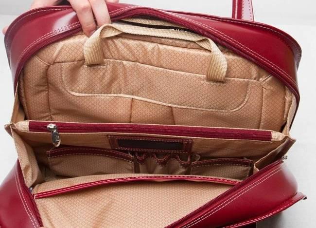 "Mcklein Oak Grove skórzana torba damska na laptopa 15,4"" czerwona"