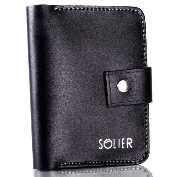 Skórzany cienki męski portfel z miejscem na monety SOLIER SW17 czarny vintage