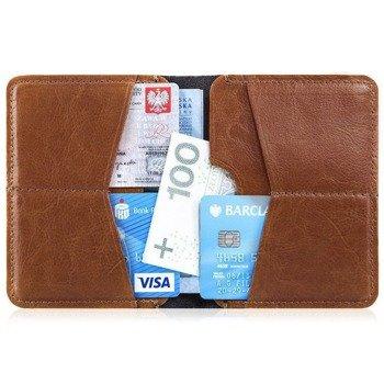 e06f8cdeb1326 Cienki skórzany portfel męski Solier SW10 brązowy