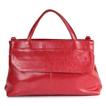 DAN-A T146 czerwona torebka skórzana damska kuferek