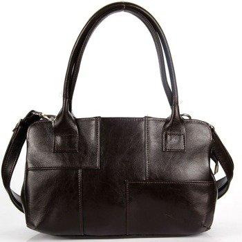 DAN-A T171 czekoladowa torebka skórzana damska kuferek
