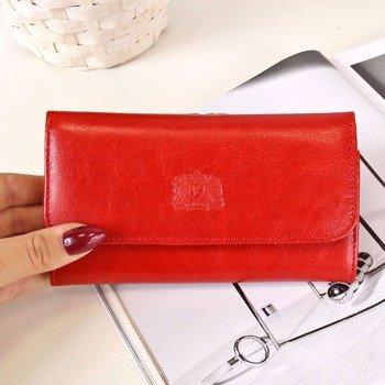 P8 czerwony portfel skórzany damski