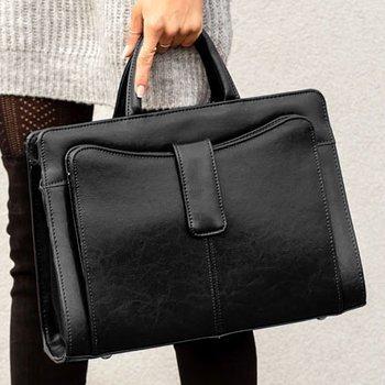 Polska skórzana teczka aktówka damska elegancka biznesowa czarna G5