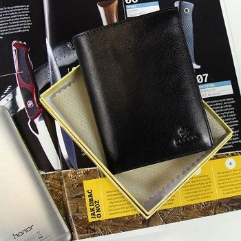Portfel skórzany męski KRENIG Classic 12001 czarny w pudełku
