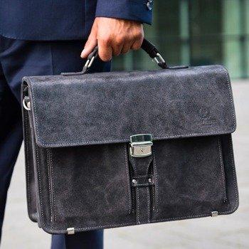 Skórzana teczka torba męska do ręki i na ramię GA85 szara