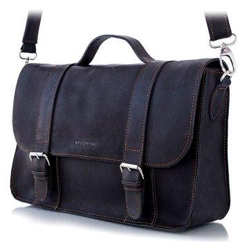 Skórzana torba męska BRODRENE BL11 czarna