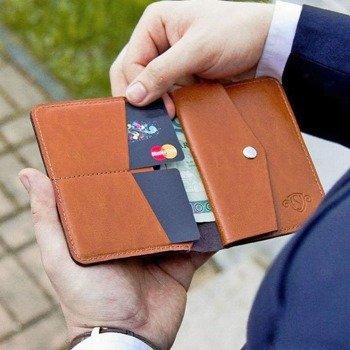 2be84881019b4 Skórzany cienki portfel męski z bilonówką SOLIER SW15 SLIM jasny brąz