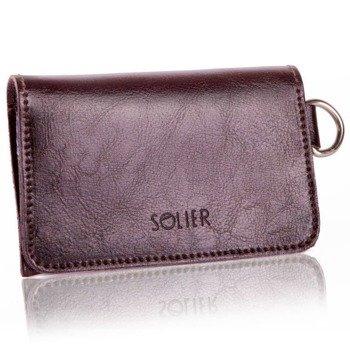 058b33155b1ff Skórzany portfel męski/wizytownik z miejscem na bilon SOLIER SW20 ciemny  brązowy