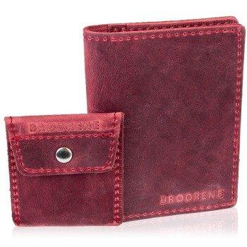 Skórzany zestaw portfel i bilonówka BRODRENE SW01 + CW02 czerwony