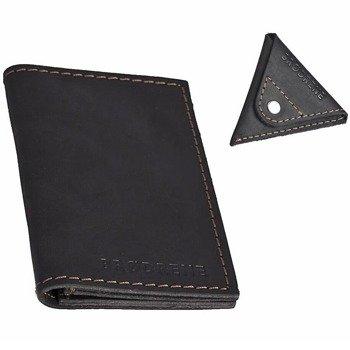 Skórzany zestaw portfel i bilonówka BRODRENE SW03 + CW01 czarny