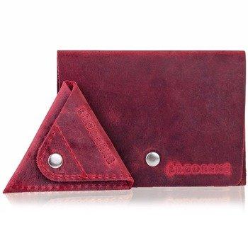 Skórzany zestaw portfel i bilonówka BRODRENE SW06 + CW01 czerwony