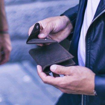 Skórzany zestaw portfel i bilonówka BRODRENE SW07 + CW01 ciemnobrązowy