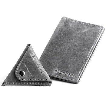 Skórzany zestaw portfel i bilonówka BRODRENE SW07 + CW01 szary