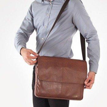 Stylowa torba męska na ramię casual SOLIER S15 jasnobrązowa