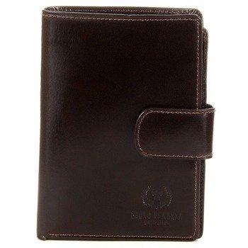 Włoski skórzany portfel męski organizer w pudełku GA57 brązowy