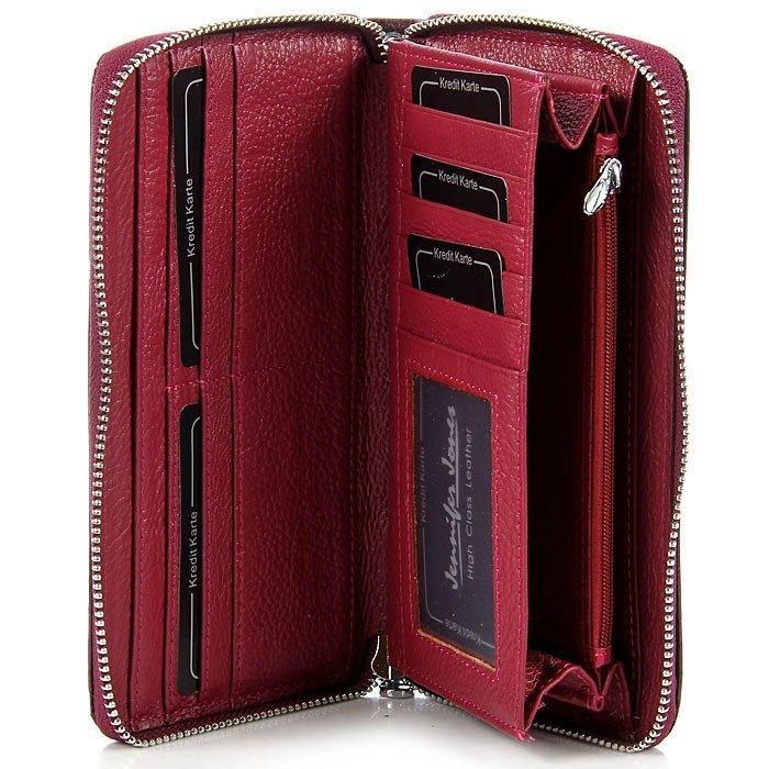 Czarny skórzany lakierowany portfel damski kopertówka GA1