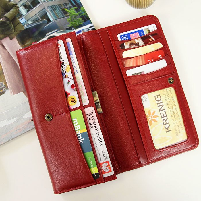 Portfel skórzany damski KRENIG Classic 12026 czerwony w pudełku