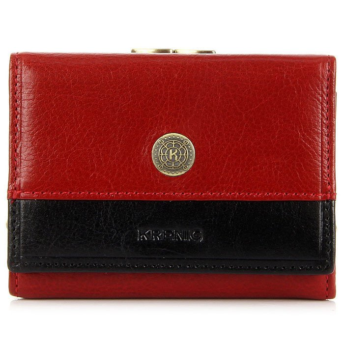 Portmonetka skórzana damska KRENIG Scarlet 13011 czerwona w pudełku