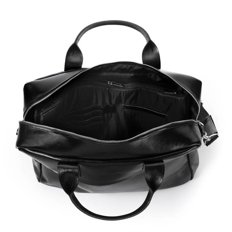 eacd2b6b1518d Skórzana torba męska na laptopa 17' BRODRENE R03XL czarna - [17020 ...