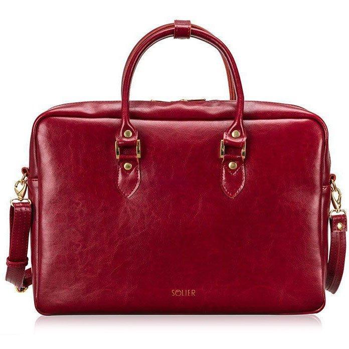 aa0b36c446127 Skórzana torba na laptopa Felice Gold FG05 czerwona -  15196 ...