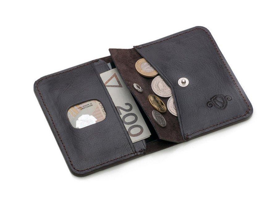 e35ee91e92382 ... Skórzany cienki portfel męski z bilonówką SOLIER SW16A SLIM ciemny brąz  ...