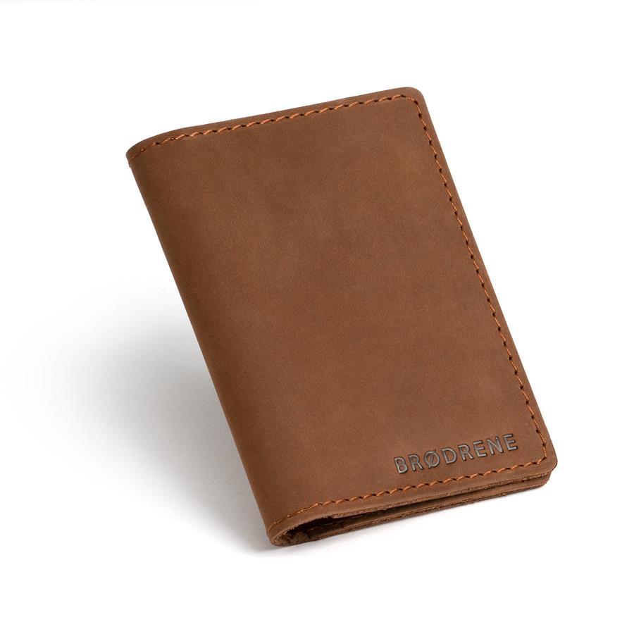 69cb16c26db16 ... Skórzany cienki portfel slim wallet BRODRENE SW01 jasnobrązowy ...