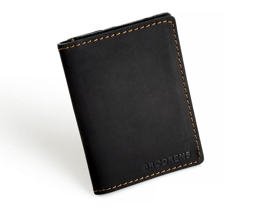 f499f4d961a01 Skórzany cienki portfel slim wallet z bilonówką BRODRENE SW04 czarny ...