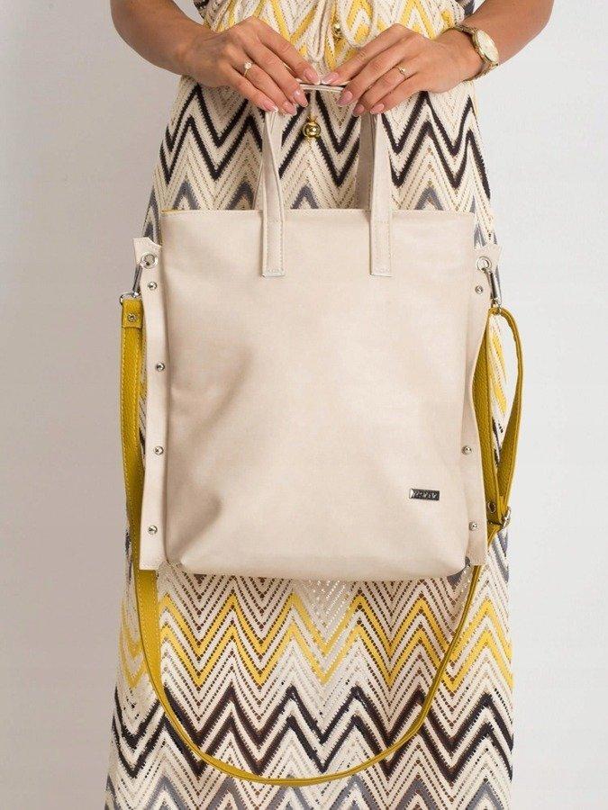 Torebka damska shopper bag worek 0005 beżowa