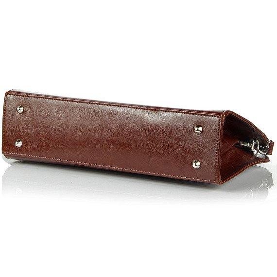 Aktówka kuferek ze skóry naturalnej DAN-A T260 koniakowa