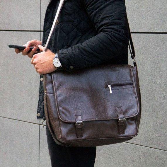 Brązowa casual torba męska na ramię Solier S12