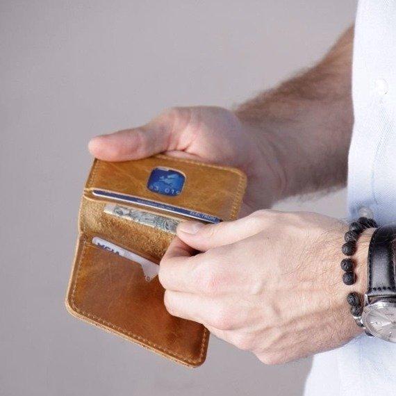 Cienki skórzany męski portfel SOLIER SW11 SLIM bordowy