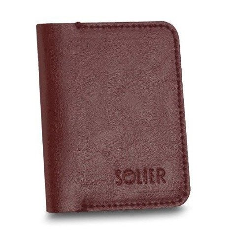 Cienki skórzany męski portfel z bilonówką SOLIER SW16 SLIM bordowy