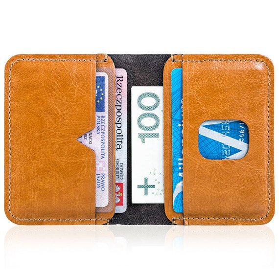 Cienki skórzany portfel męski Solier SW11 jasnobrązowy