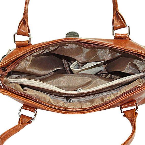 DAN-A T197 torebka skórzana damska kuferek camel
