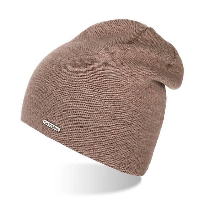 Damska czapka smerfetka kawowa Brodrene CZ20