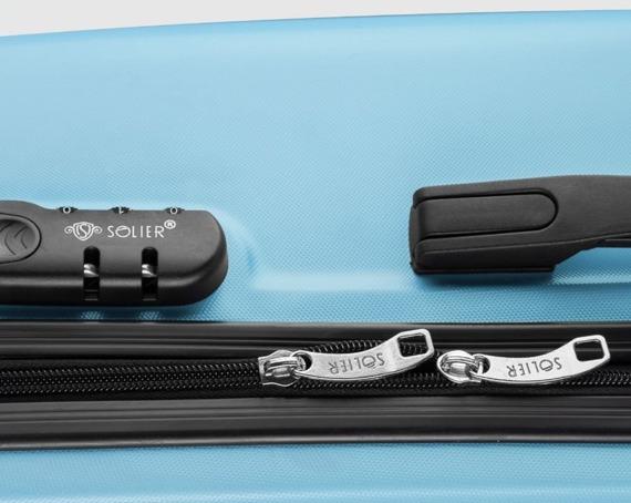 Duża walizka podróżna twarda STL856 błękitna