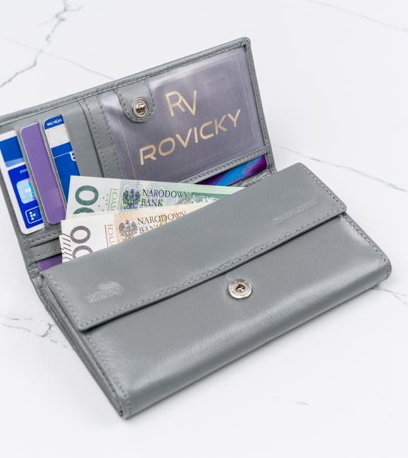 Duży portfel damski szary Cavaldi RD-08-GCL GRAY