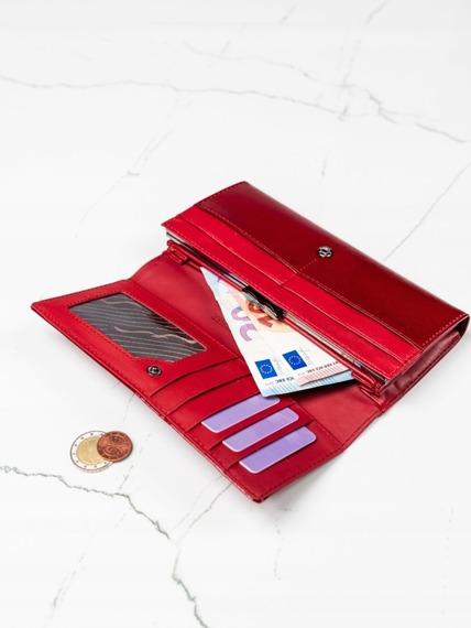 Ekskluzywny skórzany portfel damski czerwony Cavaldi H20-1