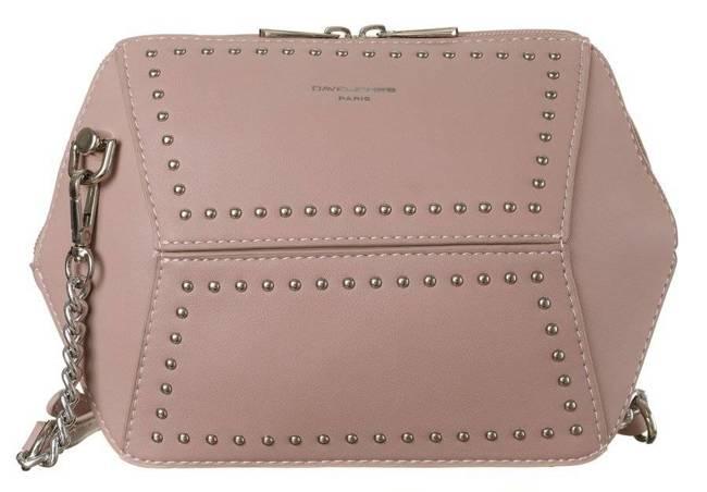 Geometryczna listonoszka różowa zdobiona ćwiekami David Jones CM5605 PINK