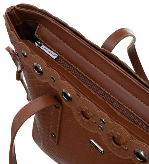 Klasyczna torebka damska David Jones brąz CM5834