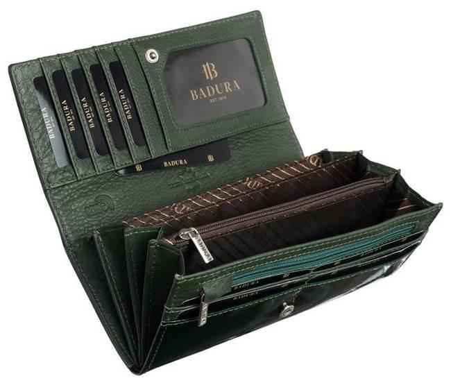 Klasyczny portfel damski zielony Badura B-72037P-SH