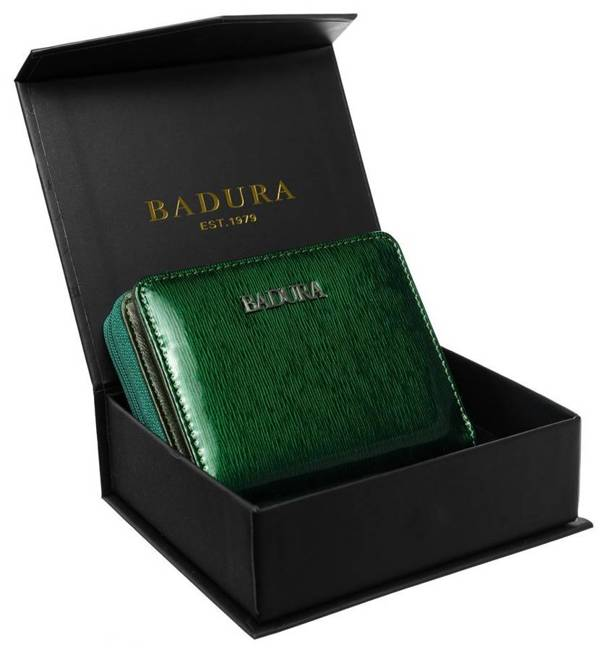 Kwadratowa portmonetka damska zielona Badura B-41375P-SH
