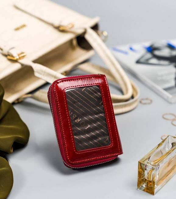 Lakierowany portfel damski czerwony Lorenti 5157-SH NAPIS RED