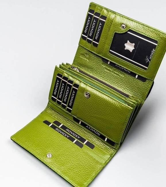 Lakierowany portfel damski zielony Lorenti 76112-SH NAPIS GREEN