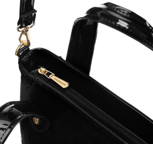 Lakierowany shopper czarny Monnari BAG2810-M20
