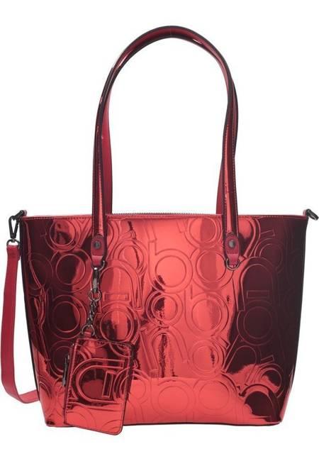 Lakierowany shopper damski czerwony Nobo NBAG-K4250-C005