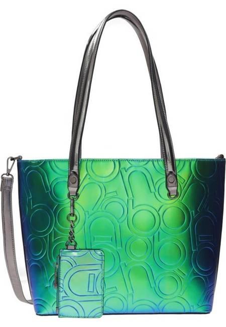 Lakierowany shopper damski zielony Nobo NBAG-K4250-C008